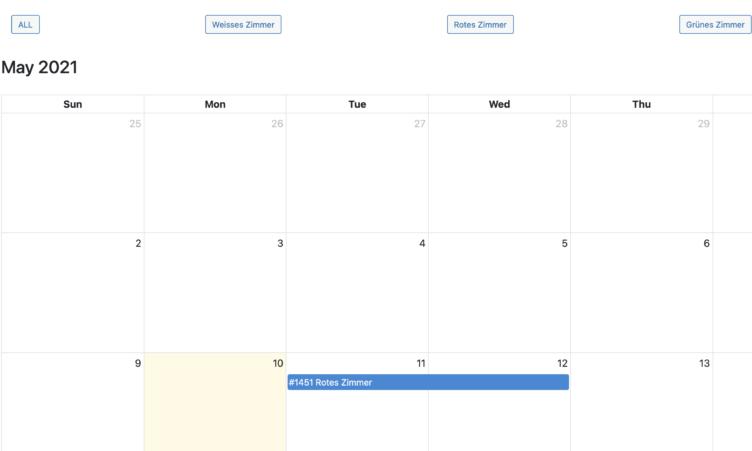 Backend Bookings Calendar