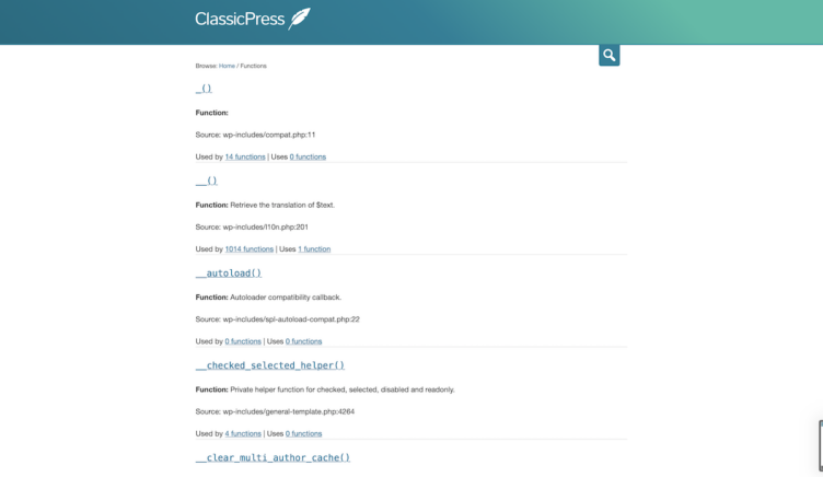 ClassicPress Documentation Code Reference Function Archive