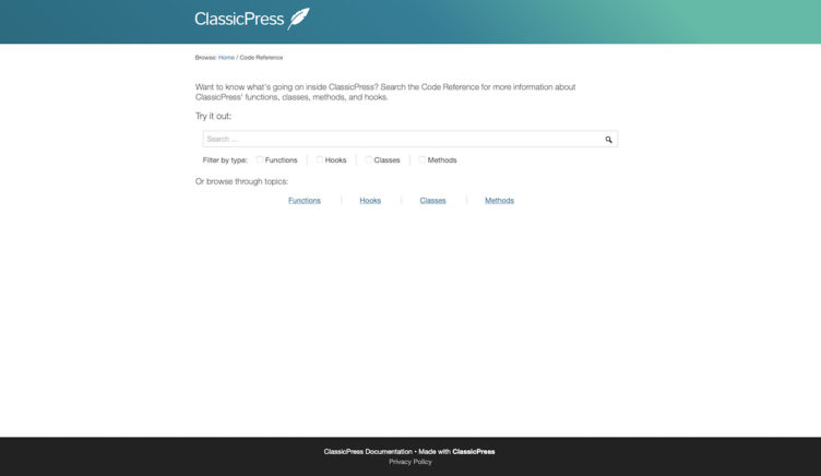 ClassicPress Documentation Code Reference Search