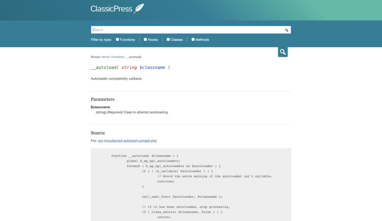 ClassicPress Documentation Single Code Reference Page