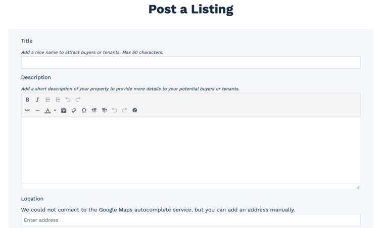 Member Post Listing Form