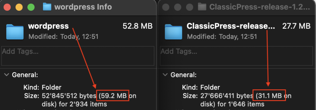 Total Size of CMS Folder